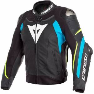 Dainese Super Speed 3 Motorcycle Leather Jacket Black Blue Yellow 46