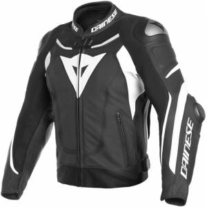 Dainese Super Speed 3 Perforated Motorcycle Leather Jacket Black White 52
