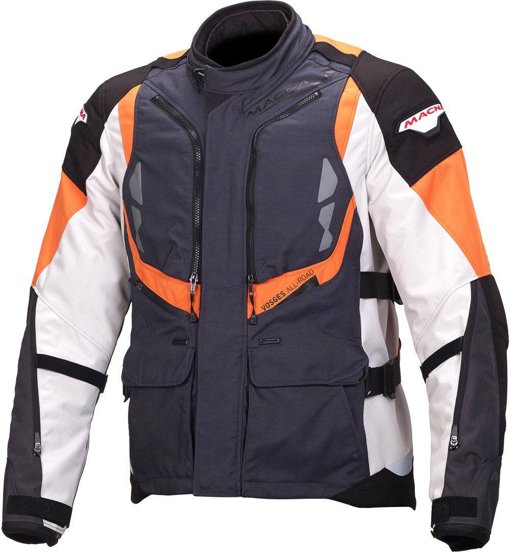 Macna Vosges Motorcycle Textile Jacket Black White Orange 3XL