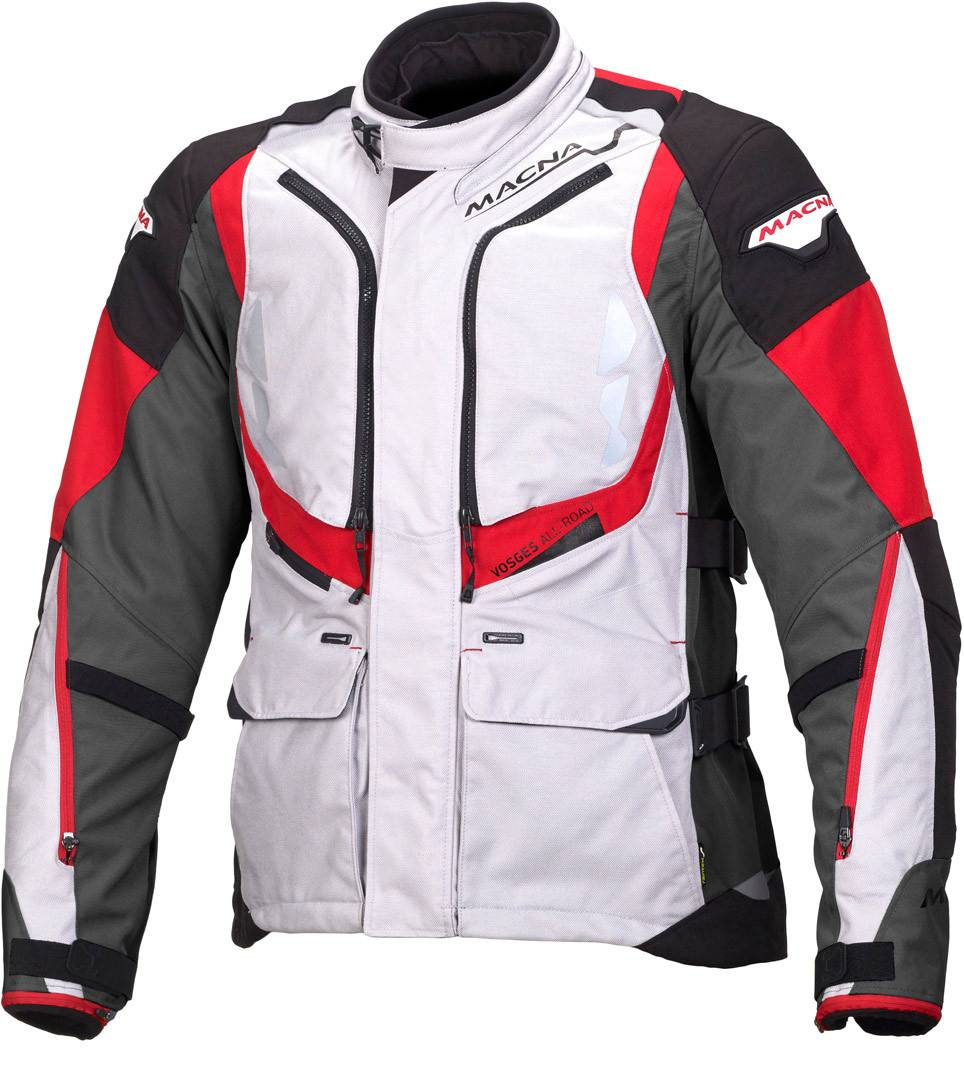 Macna Vosges Motorcycle Textile Jacket White Red 3XL