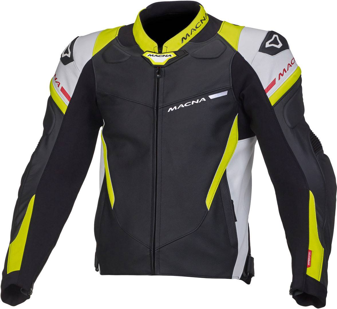 Macna Hyper Motorcycle Leather Jacket Black White Yellow 56