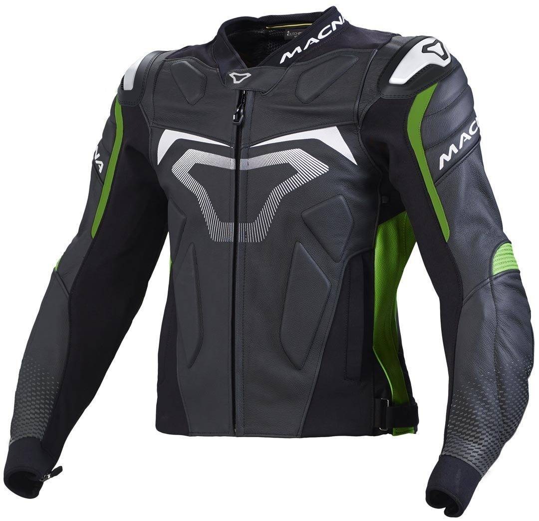 Macna Voltage Motorcycle Leather Jacket Black Green 60