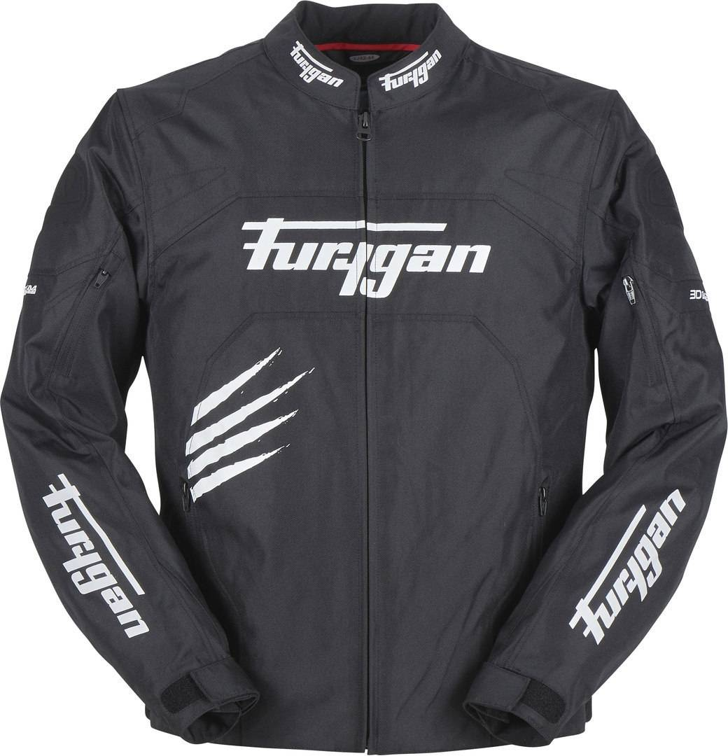 Furygan Rock Motorcycle Textile Jacket Black White 2XL