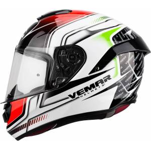 Vemar Hurricane Racing Helmet White Red Green XS