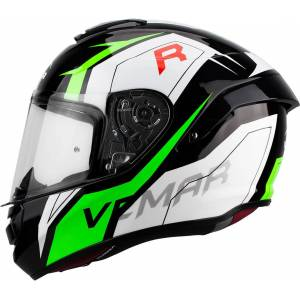 Vemar Hurricane Revenge Helmet Black White Green L