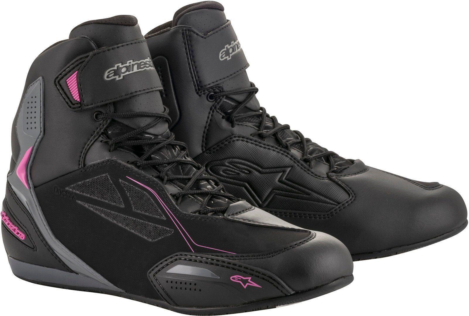 Alpinestars Stella Faster-3 Drystar Ladies Motorcycle Shoes Black Grey Pink 42 43
