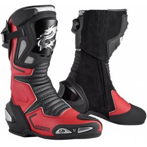 Arlen Ness Sugello Motorcycle Boots Black Red 47