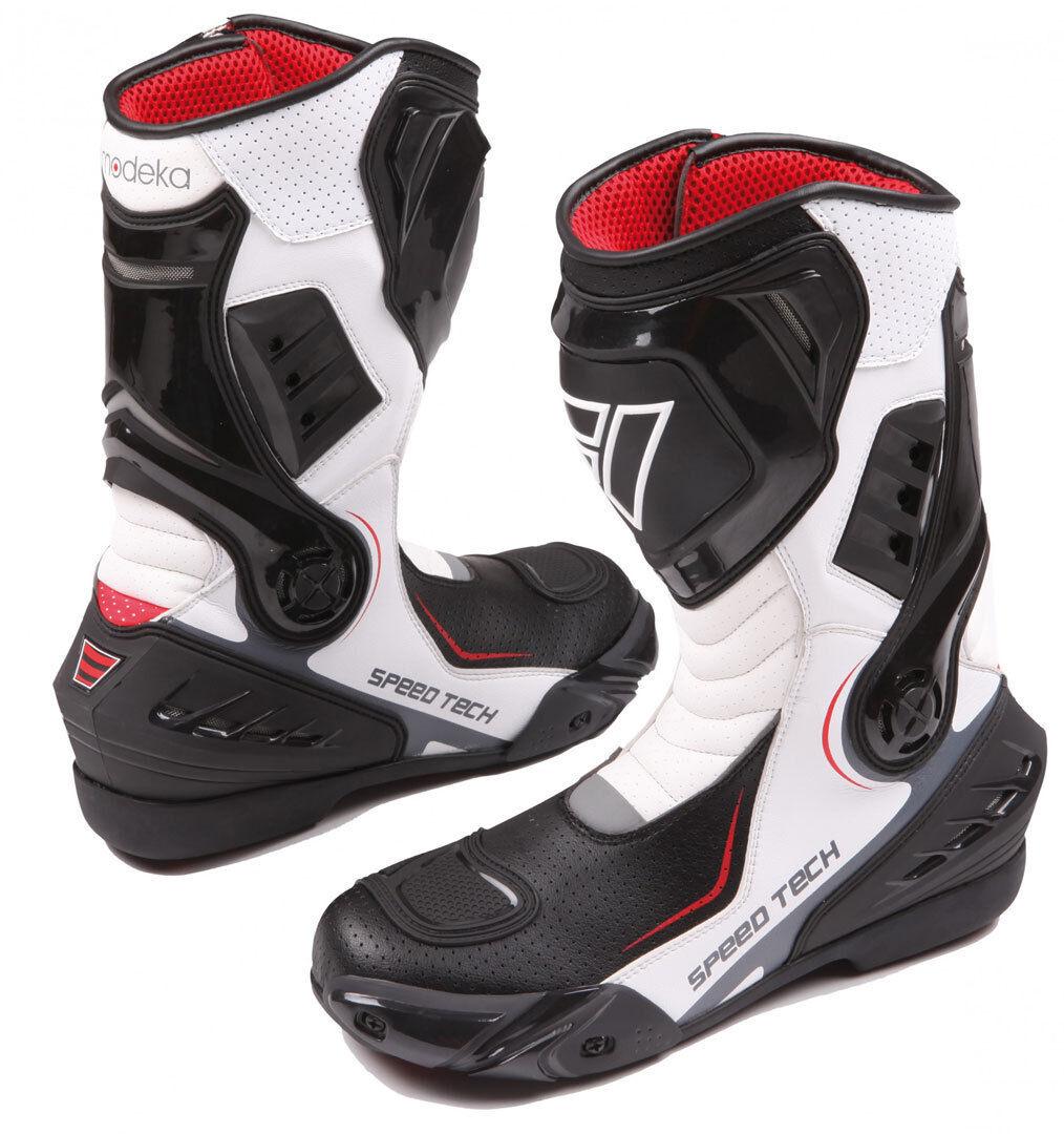 Modeka Speed Tech Motorcycle Boots Black White 46