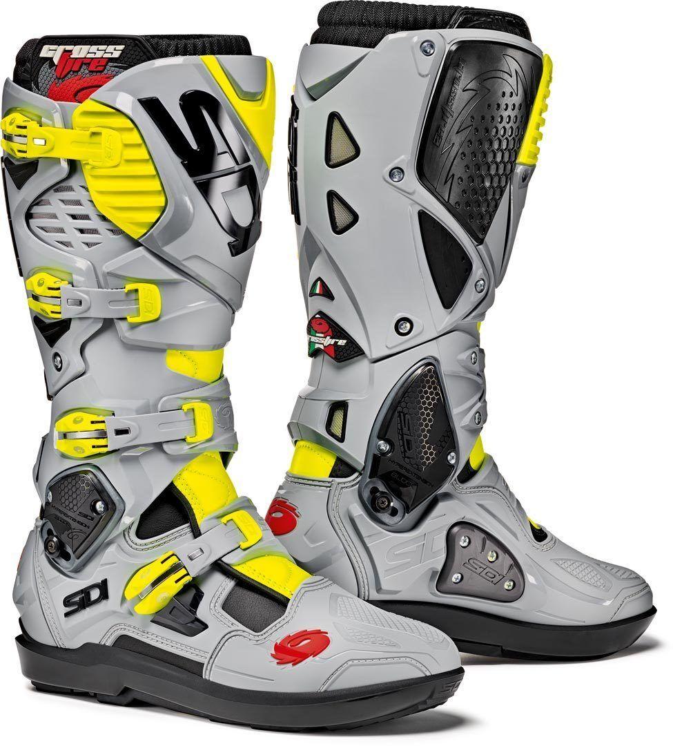Sidi Crossfire 3 SRS Motocross Boots Grey Yellow 40