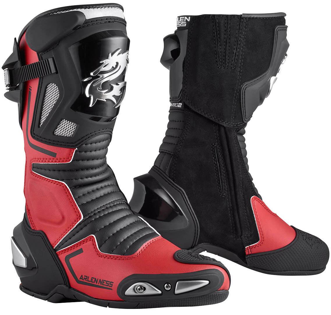 Arlen Ness Sugello Motorcycle Boots Black Red 46