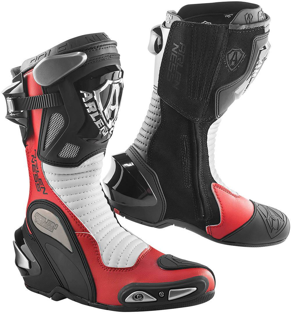Arlen Ness Xaus Replica Motorcycle Boots Black White Red 45