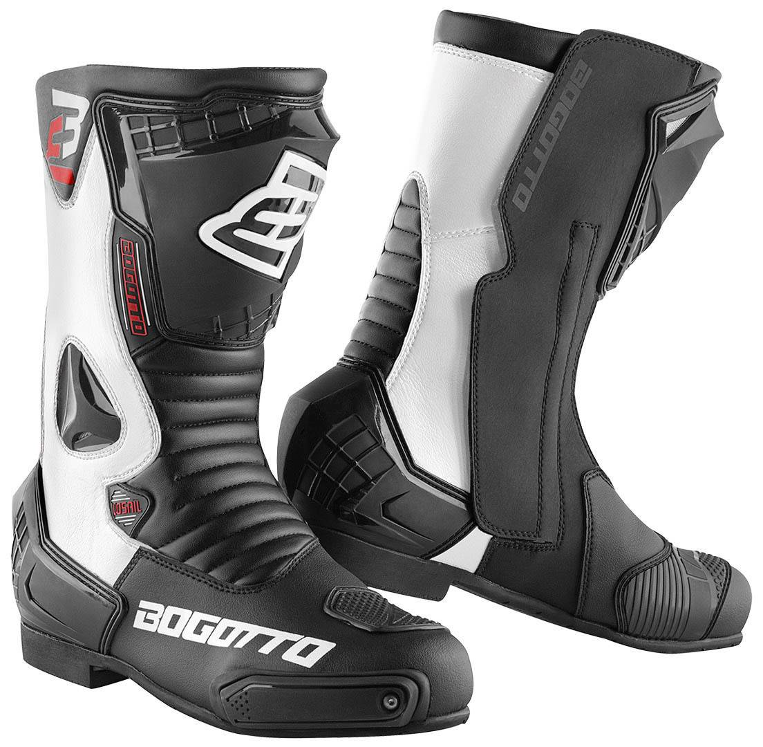 Bogotto Losail Motorcycle Boots Black White 45