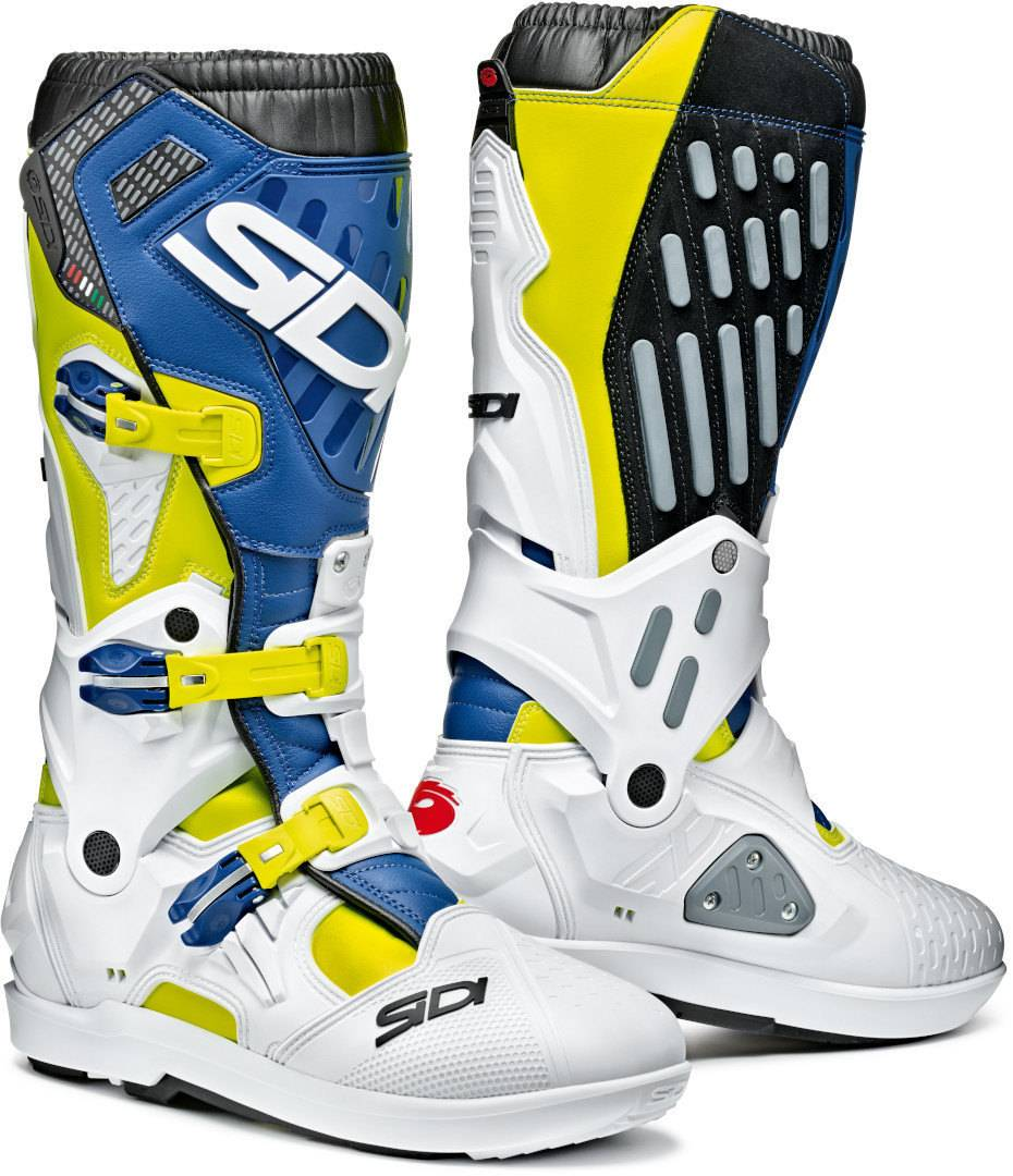 Sidi Atojo SRS Motocross Boots White Blue Yellow 42