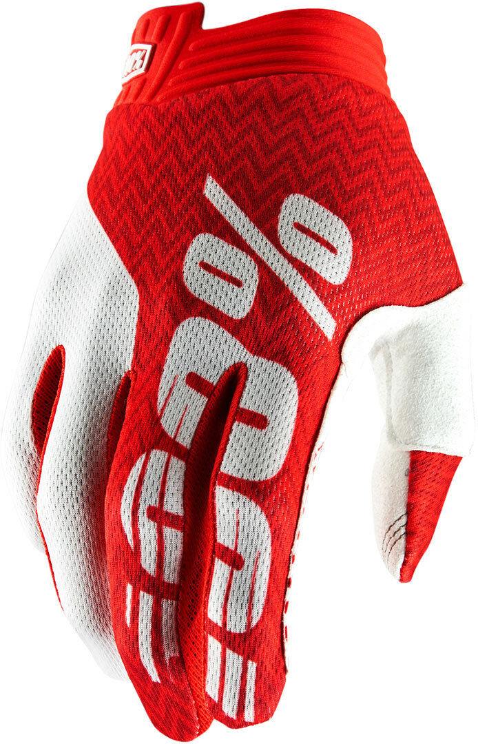 100% Itrack Gloves White Red L