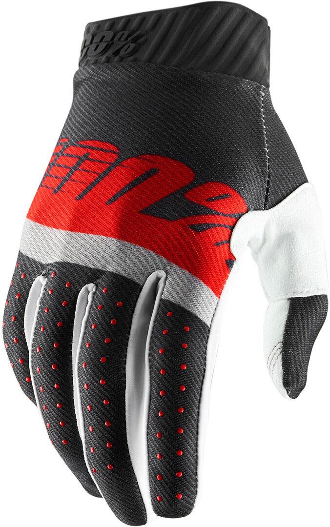 100% Ridefit Gloves Grey Red XL