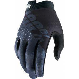 100% itrack Youth Gloves Black Grey S