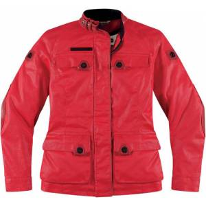 Icon Akorp Ladies Textile Jacket Red M