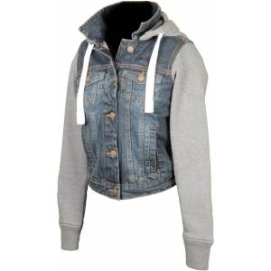 Booster Denim Ladies Motorcycle Hoodie Grey Blue S