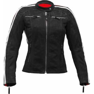 Rusty Stitches Uma Nubuck Ladies Motorcycle Leather Jacket Black 36