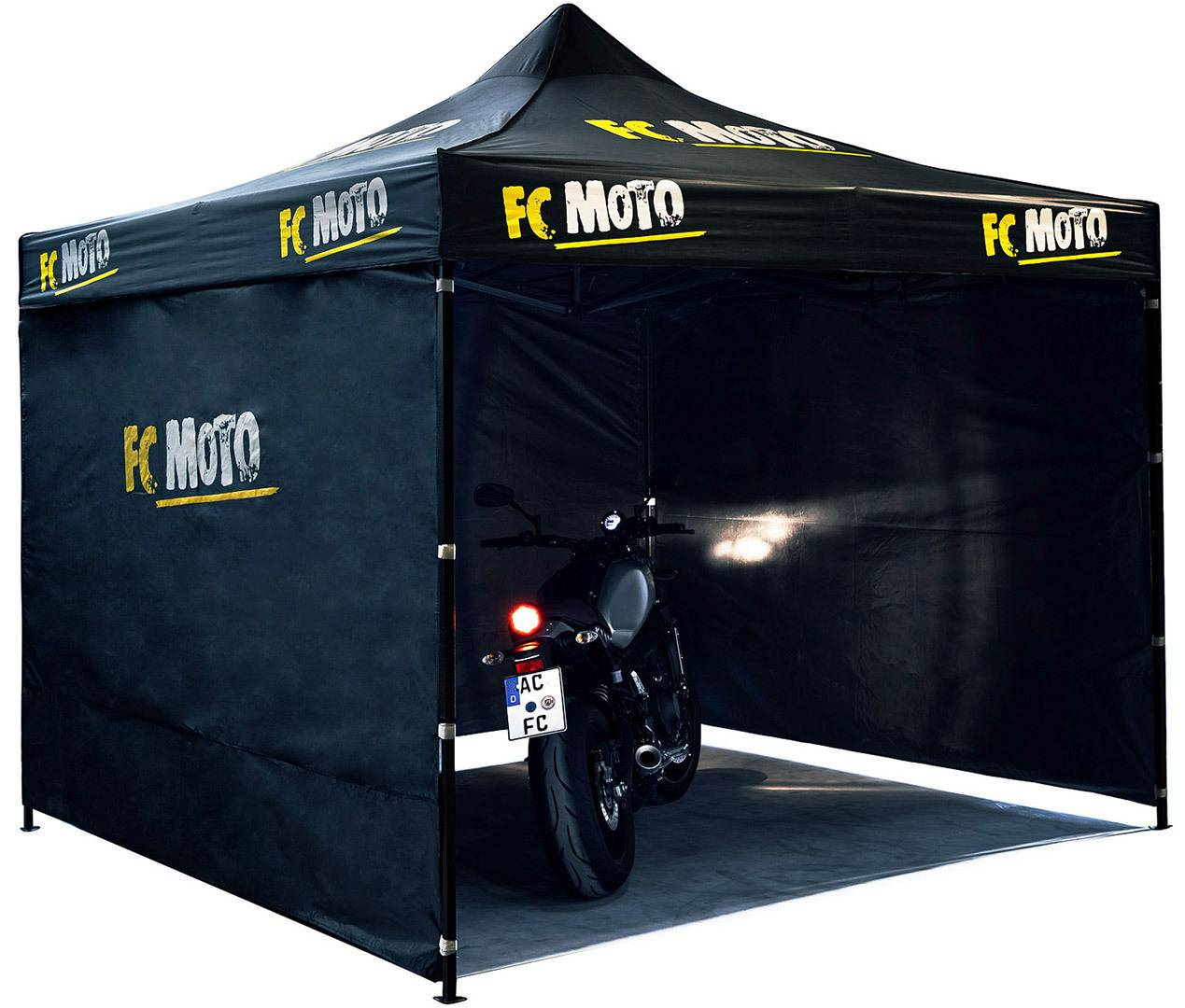 FC-Moto 3 x 3 m Aluminum Tent with Side Walls Black One Size