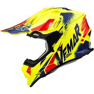 Vemar Taku Sketch Motocross Helmet Blue Yellow XL