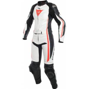 Dainese Assen Ladies Two Piece Motorcycle Leather Suit Black White Red 40