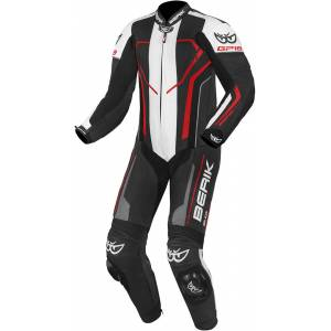 Berik Imola One Piece Motorcycle Leather Suit Black White Red 54