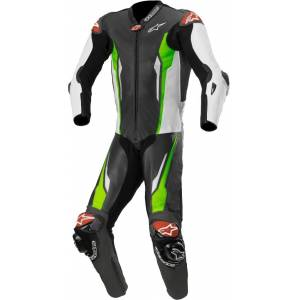 Alpinestars Racing Absolute Tech-Air One Piece Perforated Motorcycl... Black White Green 56