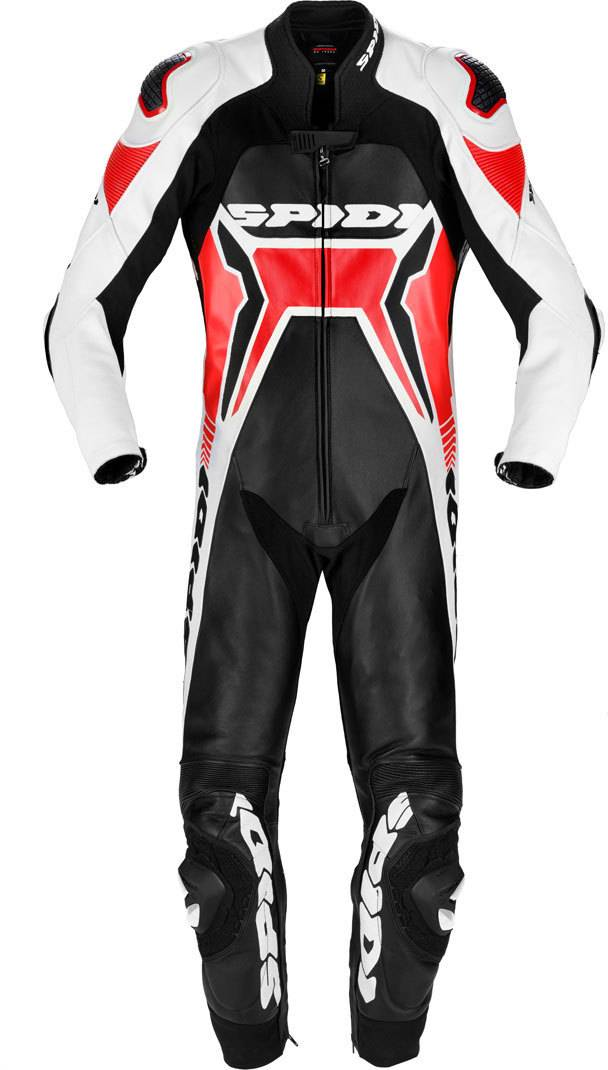 Spidi Warrior 2 Wind Pro One Piece Motorcycle Leather Suit Black Red 52