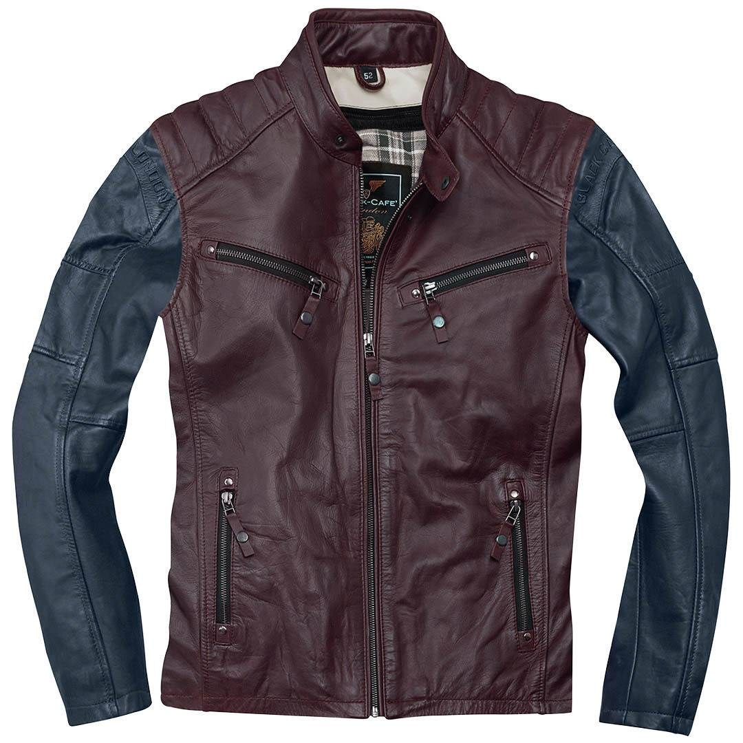 Black-Cafe London Firenze Motorcycle Leather Jacket Red Blue 54