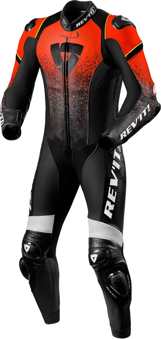Revit Quantum One Piece Motorcycle Leather Suit Black Red 46