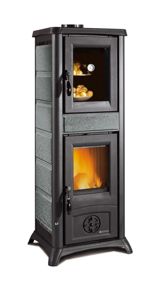 stufa a legna con forno per cucinare la nordica extraflame gemma forno 7,2 kw in pietra naturale