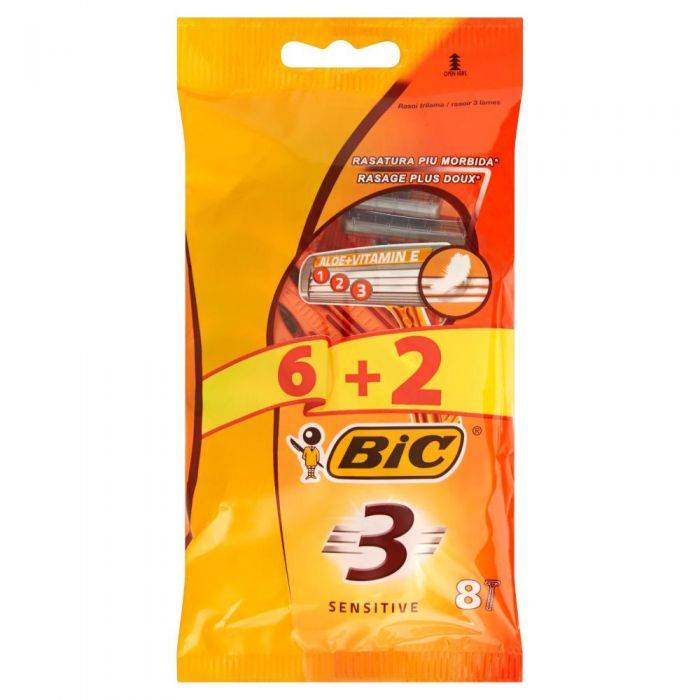 Barba Bic - Rasoi 3 Sensitive - 8 Pz