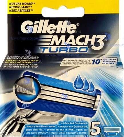 Gillette - Ricariche Mach 3 Turbo - 5 Pezzi