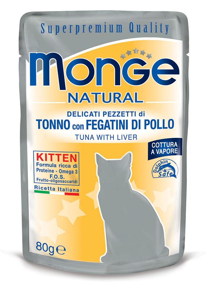 Monge Natural Superpremium Cibo Umido Per Gattini 80 Gr - Tonno/fegatini - 24 Pezzi