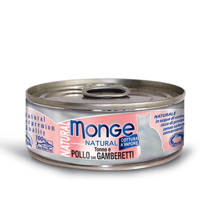 Monge Natural Superpremium Cibo Umido Monodose Per Gatti 80 Gr - Pollo Con Gamberetti - 24 Pezzi