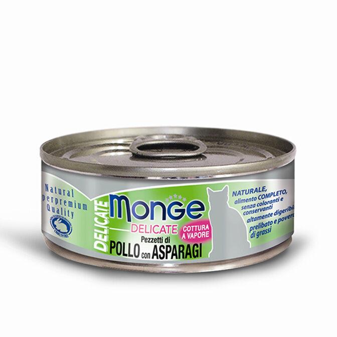 Monge Delicate Superpremium Cibo Umido Monodose Per Gatti 80 Gr - Pollo Con Asparagi - 24 Pezzi