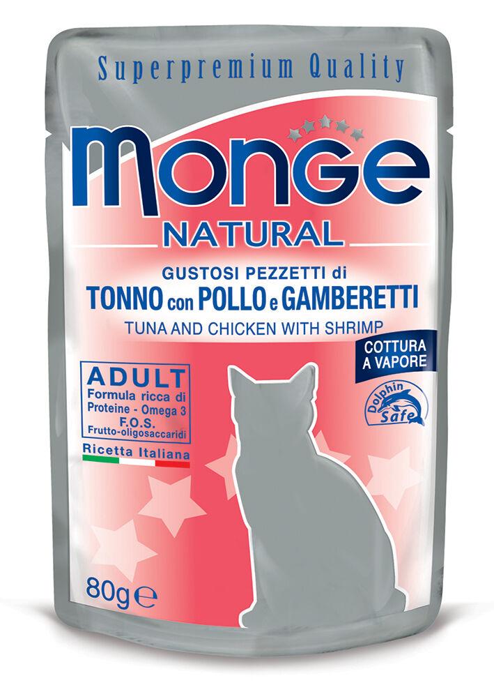 Monge Natural Superpremium Cibo Umido Per Gatti 80 Gr - Tonno/pollo E Gamberetti - 24 Pezzi