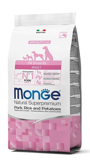 Monge Superpremium Crocchette Per Cani 12kg - Maiale, Riso &patate