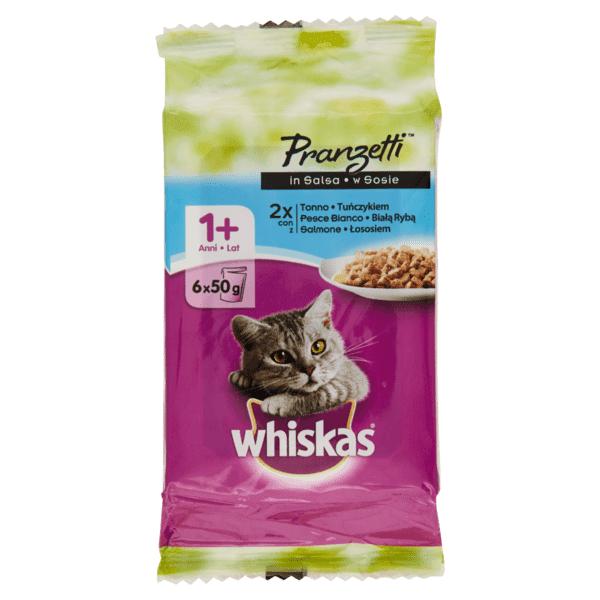 Whiskas - Pranzetti Per Gatto Con Tonno, Pesce Bianco E Salmone 6 X 50gr