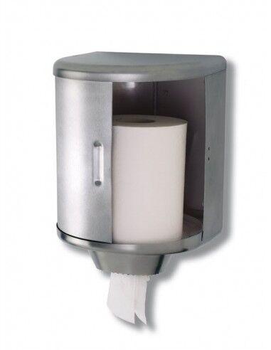 Mediclinics Dispenser Carta Rotolo Industriale - Acciaio Inox Aisi 304 Antivandalico - Colore Acciaio Opaco - Modello Dt0303cs