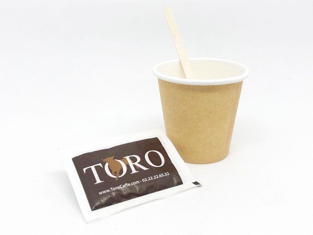 Caffè Toro Kit Accessori per Caffè Riciclabile - Palette in Legno, Bicchieri in Carta e Zucchero