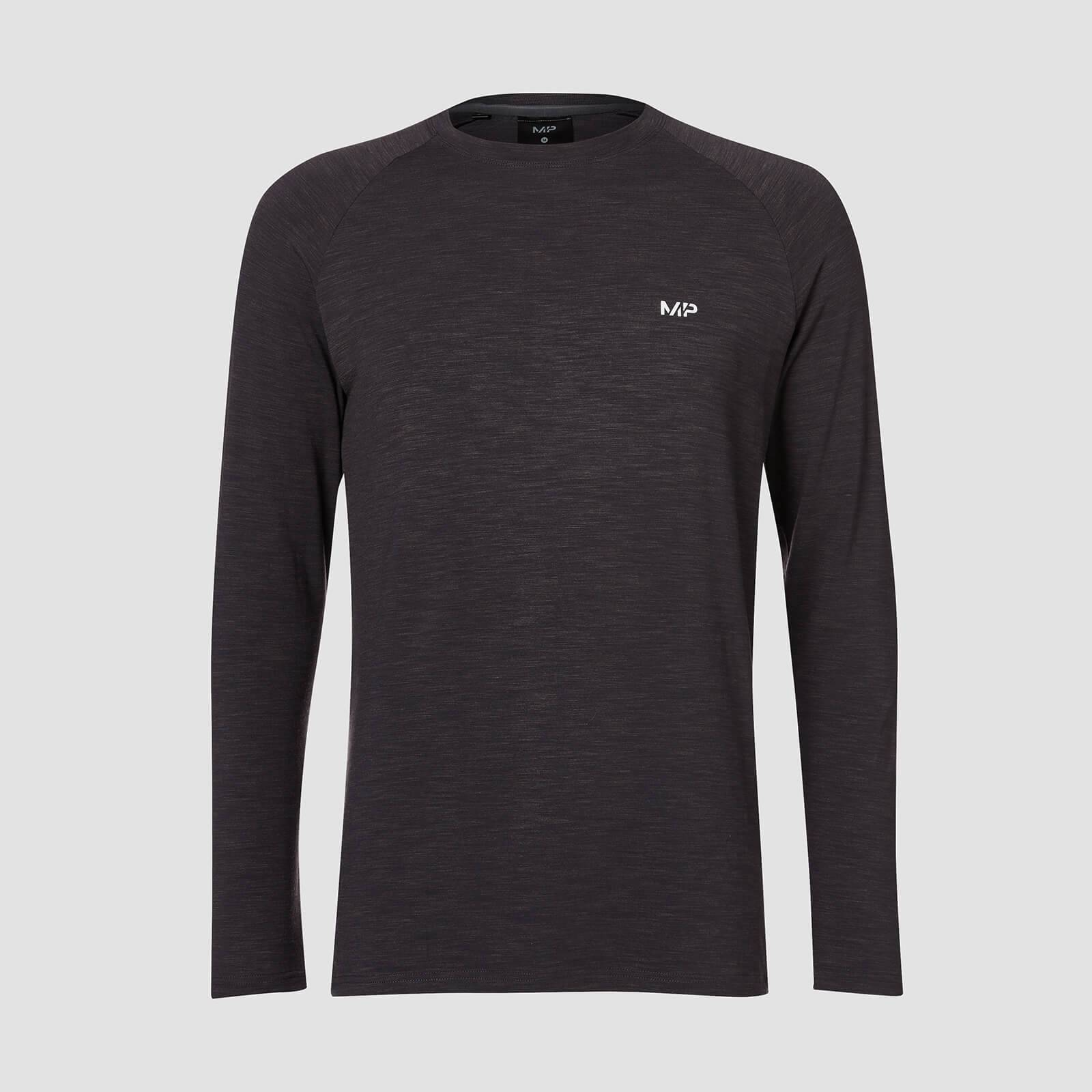 Myprotein T-shirt Performance Long-Sleeve MP - Nero mélange - XS