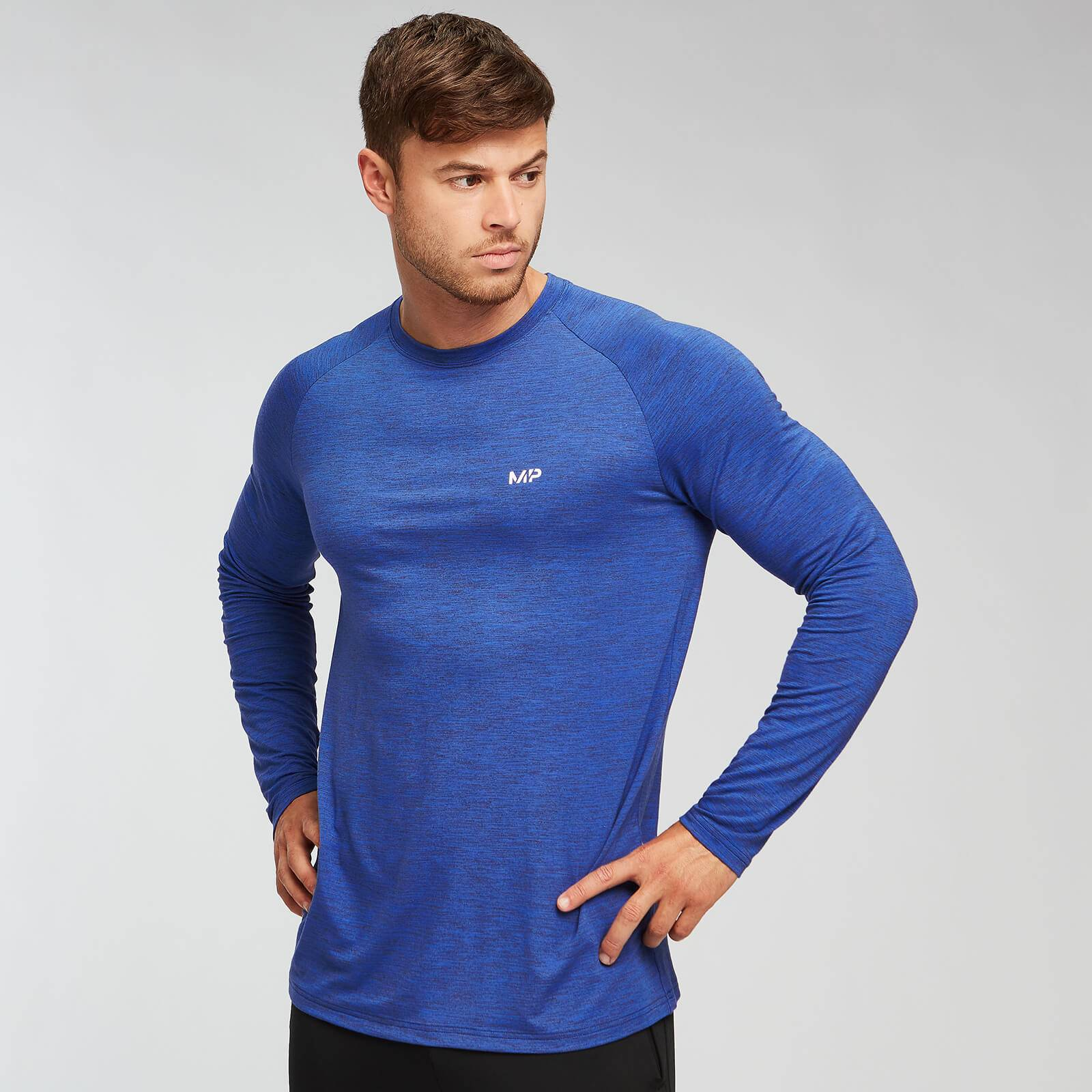 Myprotein T-shirt Performance Long Sleeve MP - Blu cobalto/Nero - L