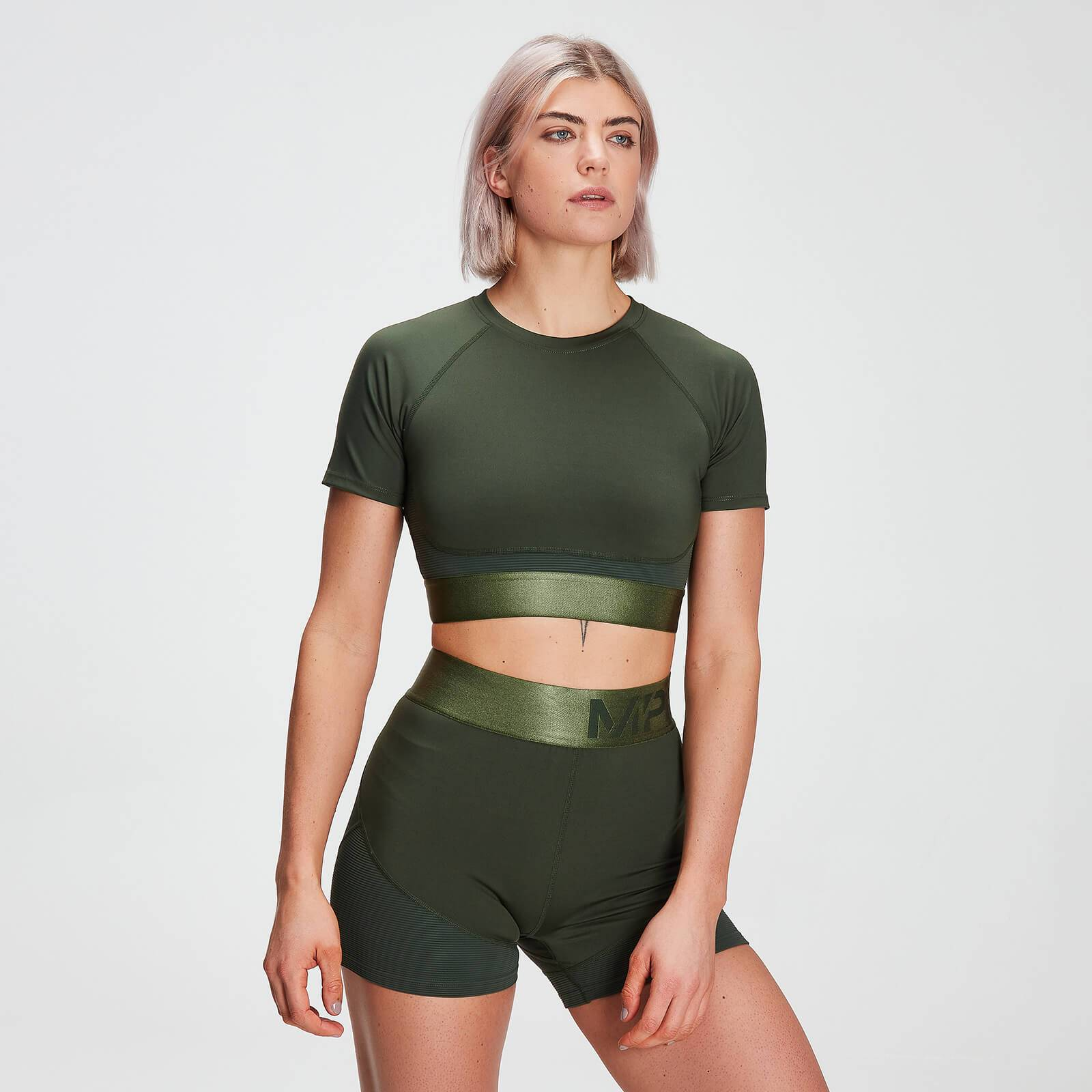 Mp Women's Adapt Textured Crop Top- Dark Green - M