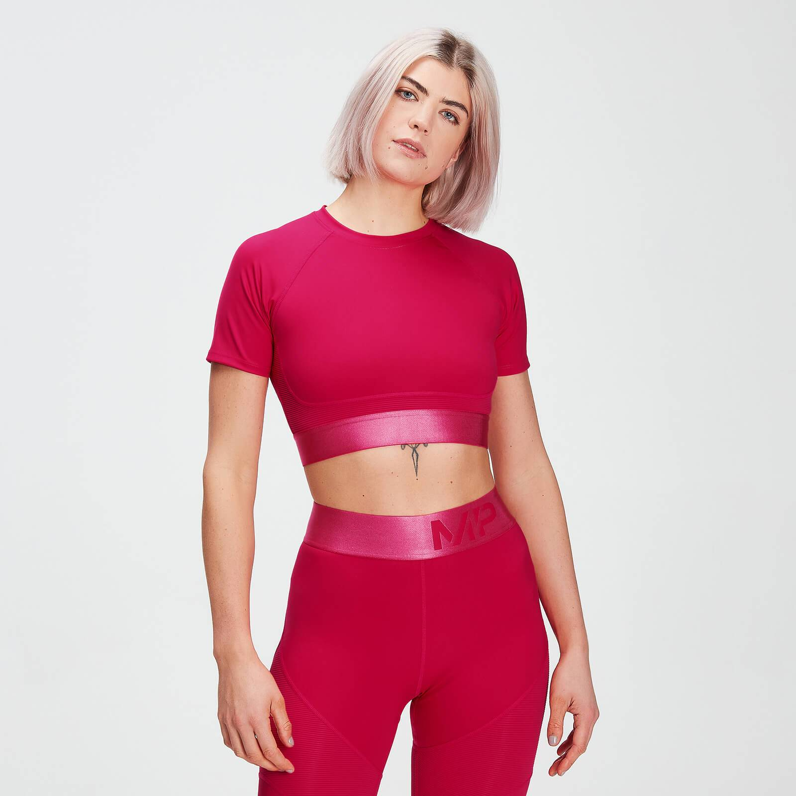 Mp Women's Adapt Textured Crop Top- Virtual Pink - XXS