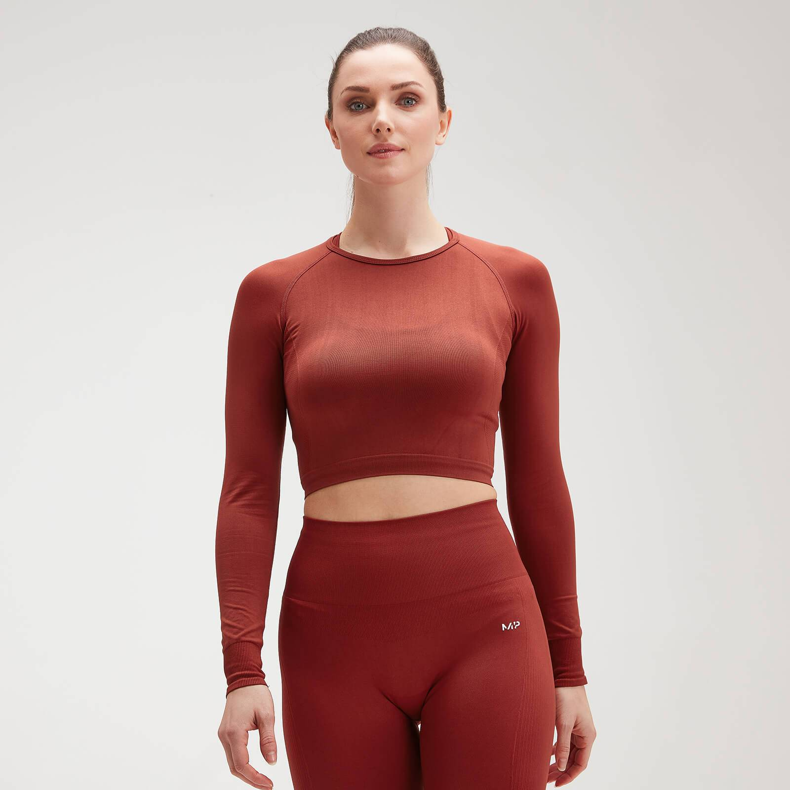 Mp Crop top a maniche lunghe  Shape Seamless Ultra da donna - Burnt Red - S