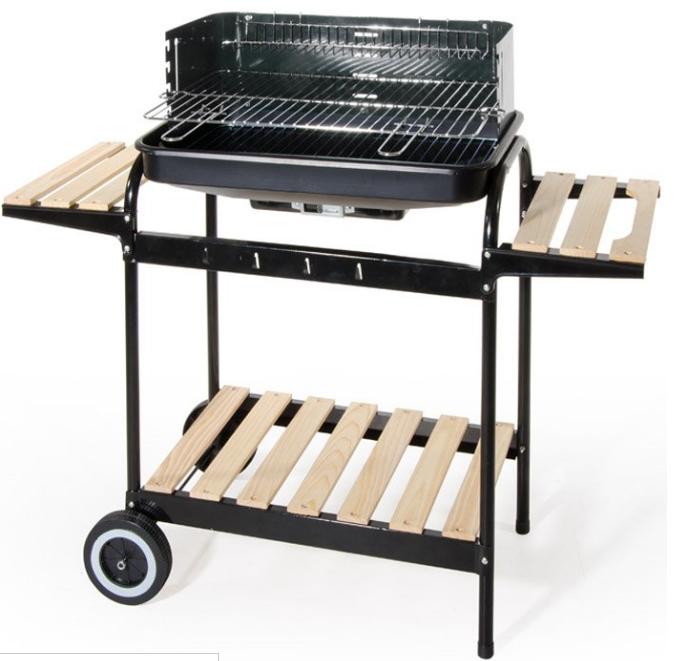 Giardino Barbecue a carbonella in acciaio con carrello a 2 ripiani   Acciaio