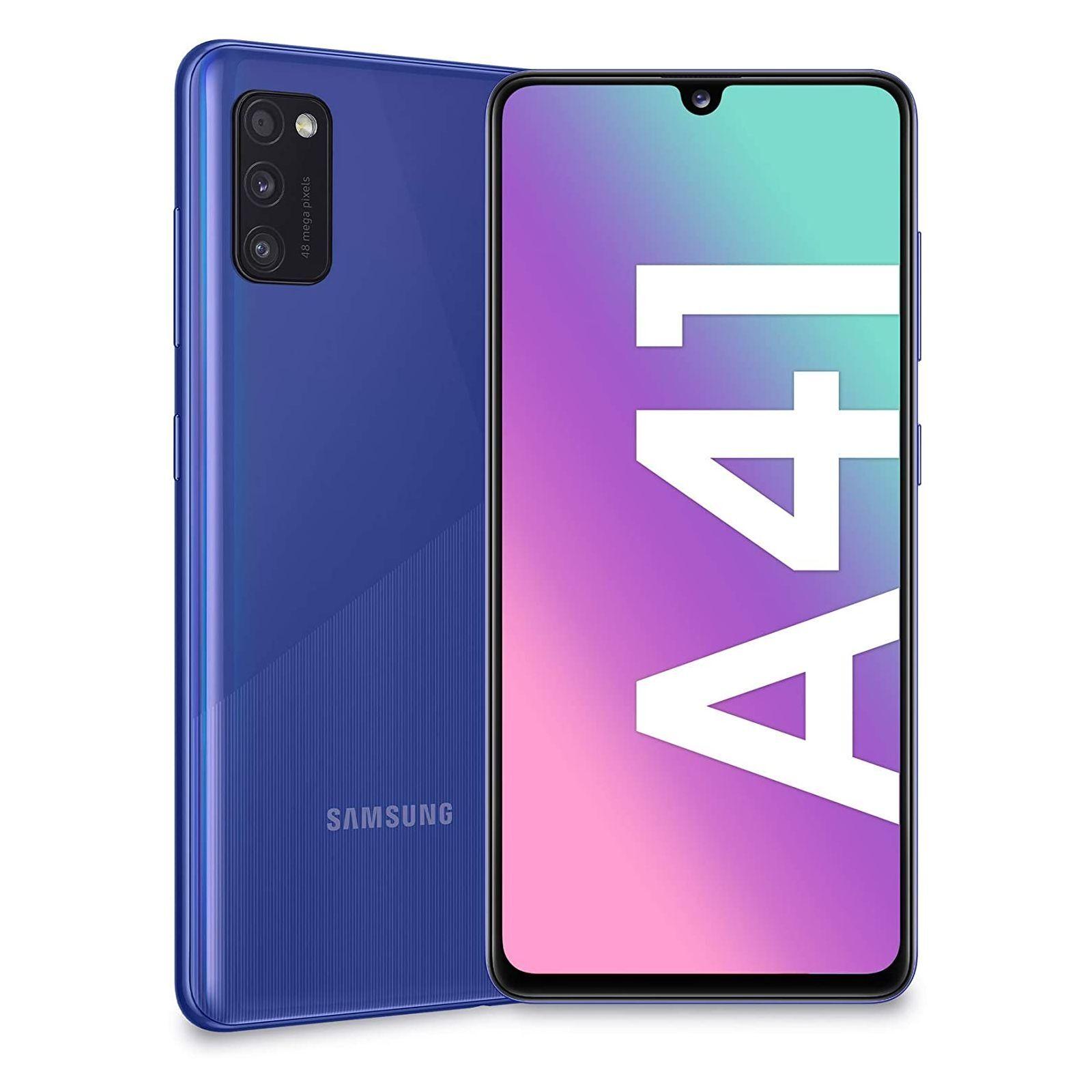 "samsung smartphone samsung galaxy a41 sm a415f dual sim 64 gb octa core 6.1"" super amoled 48 + 8 + 5 mp 4g lte wifi bluetooth refurbished prism crush blue"