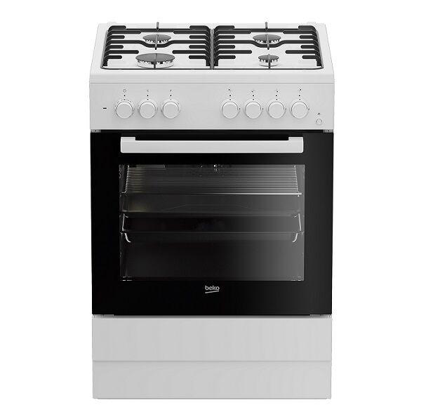 beko ricondizionato cucina elettrica ventilata fse62110dw 60x60 cm gas 4 fuochi 66 l 6 funzioni grill libera installazione bianco refur